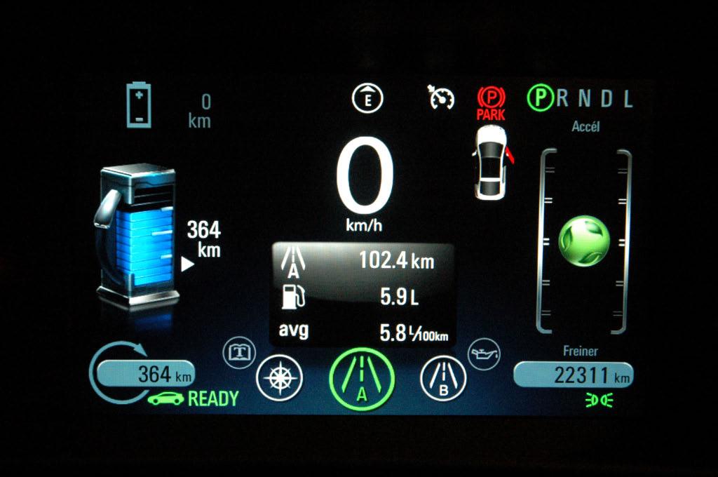 Consommation Chevrolet Volt 2012 mode essence autoroute
