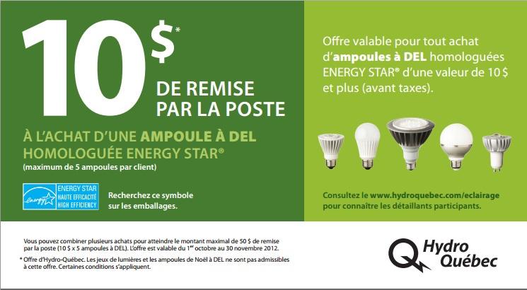 Coupon de remise Hydro-Québec à l'achat d'ampoule éconénergétiques à DEL