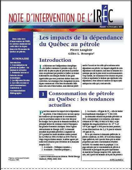Note d'intervention IREQ - Institut de recherche en économie contemporaine