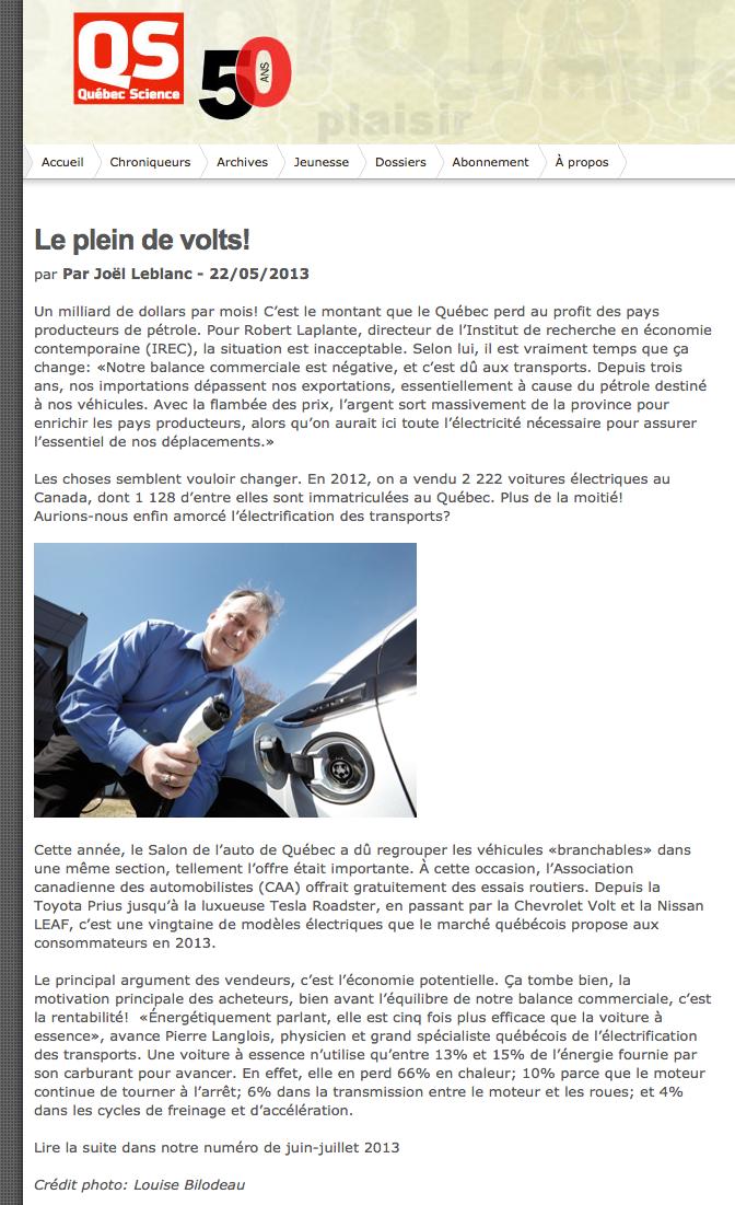 Québec Science - Le plein de Volts - voitures électriques