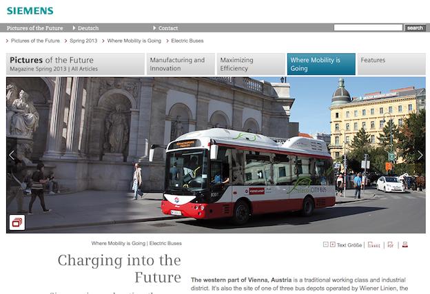 Autobus électrique Siemens à Vienne, en Autriche
