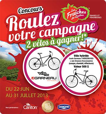 Saison cueillette fraises Québec été 2013 - concours vélo hybride