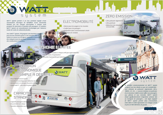 Dépliant projet autobus électrique biberonné WATT ( Wireless Alternative to Trolley Bus)