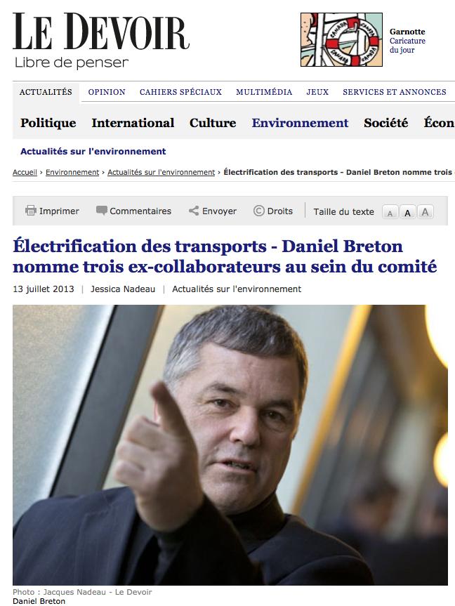 Le Devoir - comité électrification des transports - Pierre Langlois