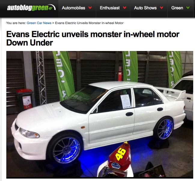 Evans Electric - moteur-roue aussi performant que celui de Pierre Couture d'Hydro-Québec en 1995