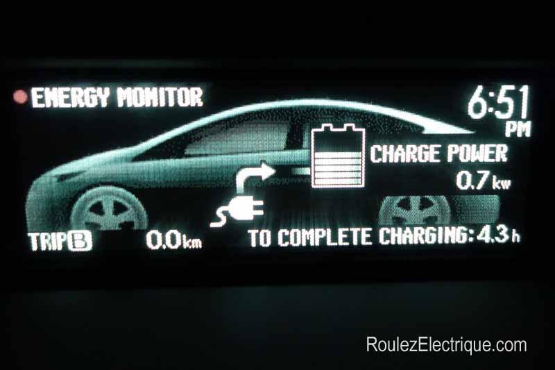 Puissance de charge de la Prius branchable / rechargeable