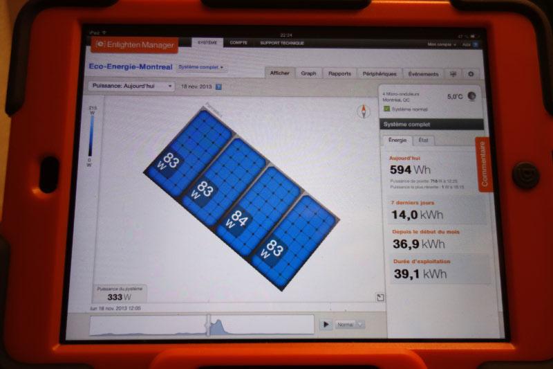 iPAD Enphase Enligthen - surveillance et diffusion production panneaux solaires photovoltaïques