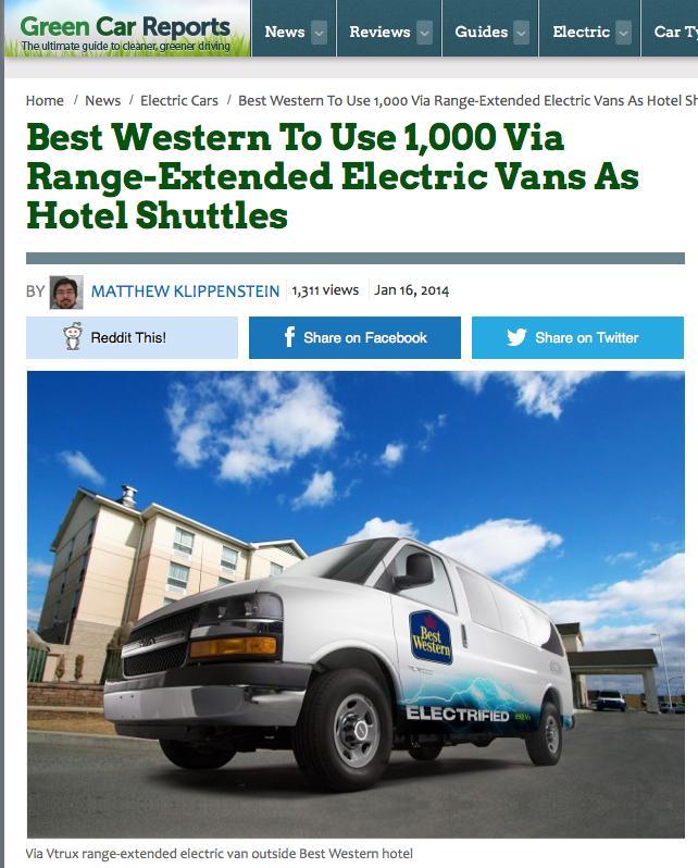 Best Western - Camionnettes et fourgonnettes électriques VTRUX de VIA Motors