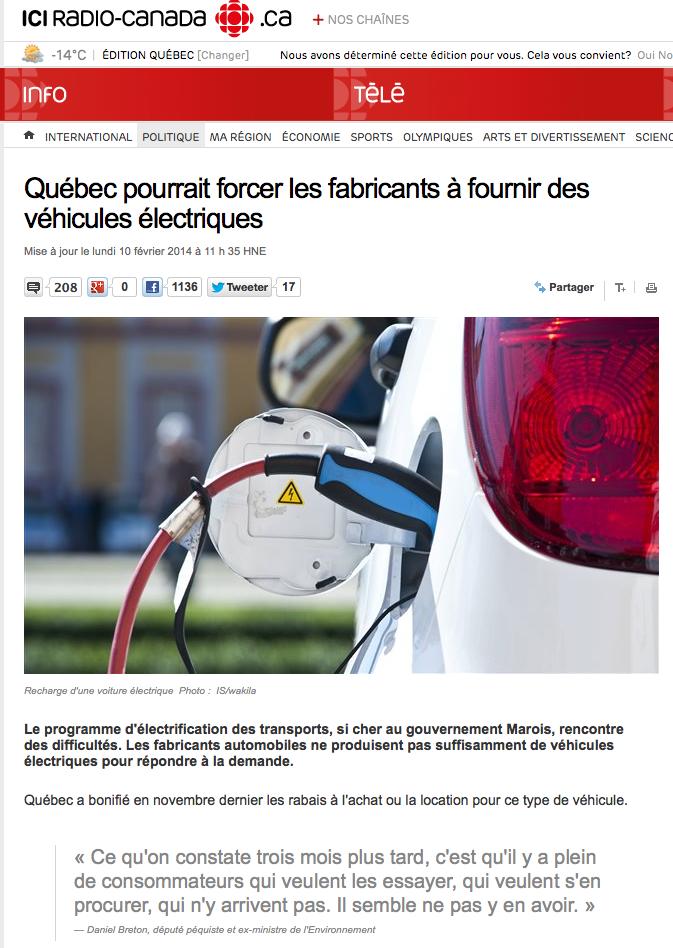Entrevue Daniel Breton loi zéro émission véhicules électrique au Québec