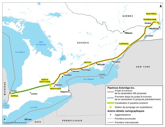 L'Office national de l'énergie approuve le projet d'Enbridge visant l'inversion de la canalisation 9B