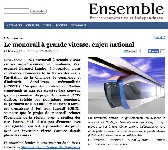 Monorail grande vitesse à moteurs-roues Pierre Couture