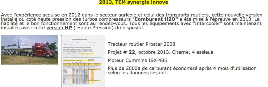 Comburant H20 réduction consommation dopage moteur à l'eau - humidification TEM Synergie