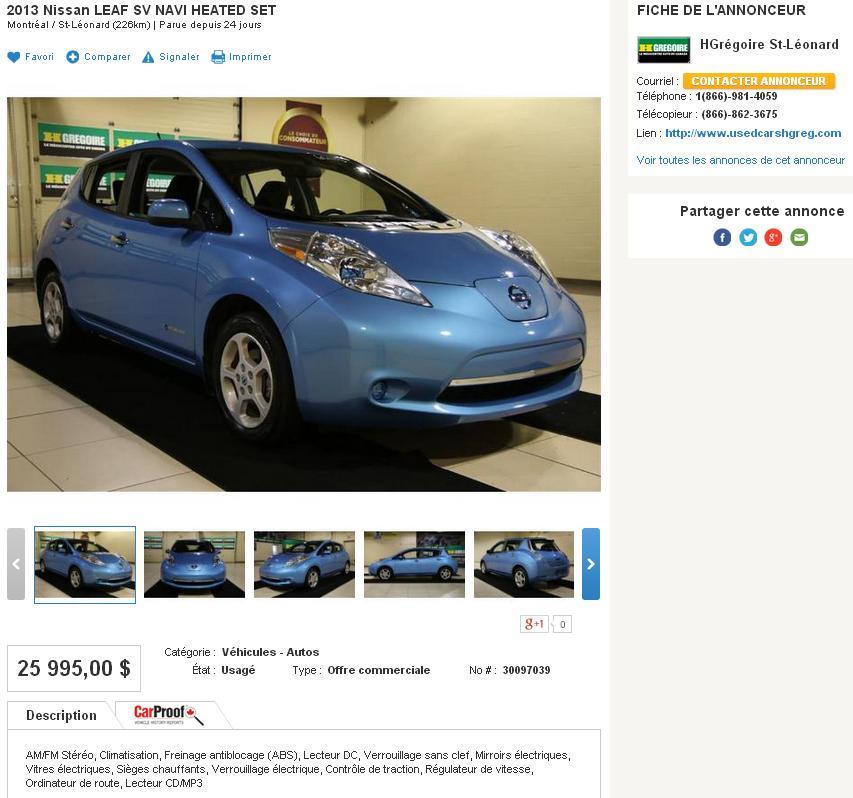 Voiture électrique Nissan LEAF usagée H. Grégoire