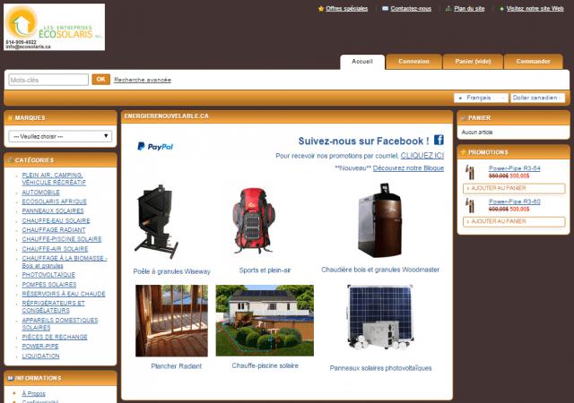 Boutique en ligne EnergieRenouvelable.ca