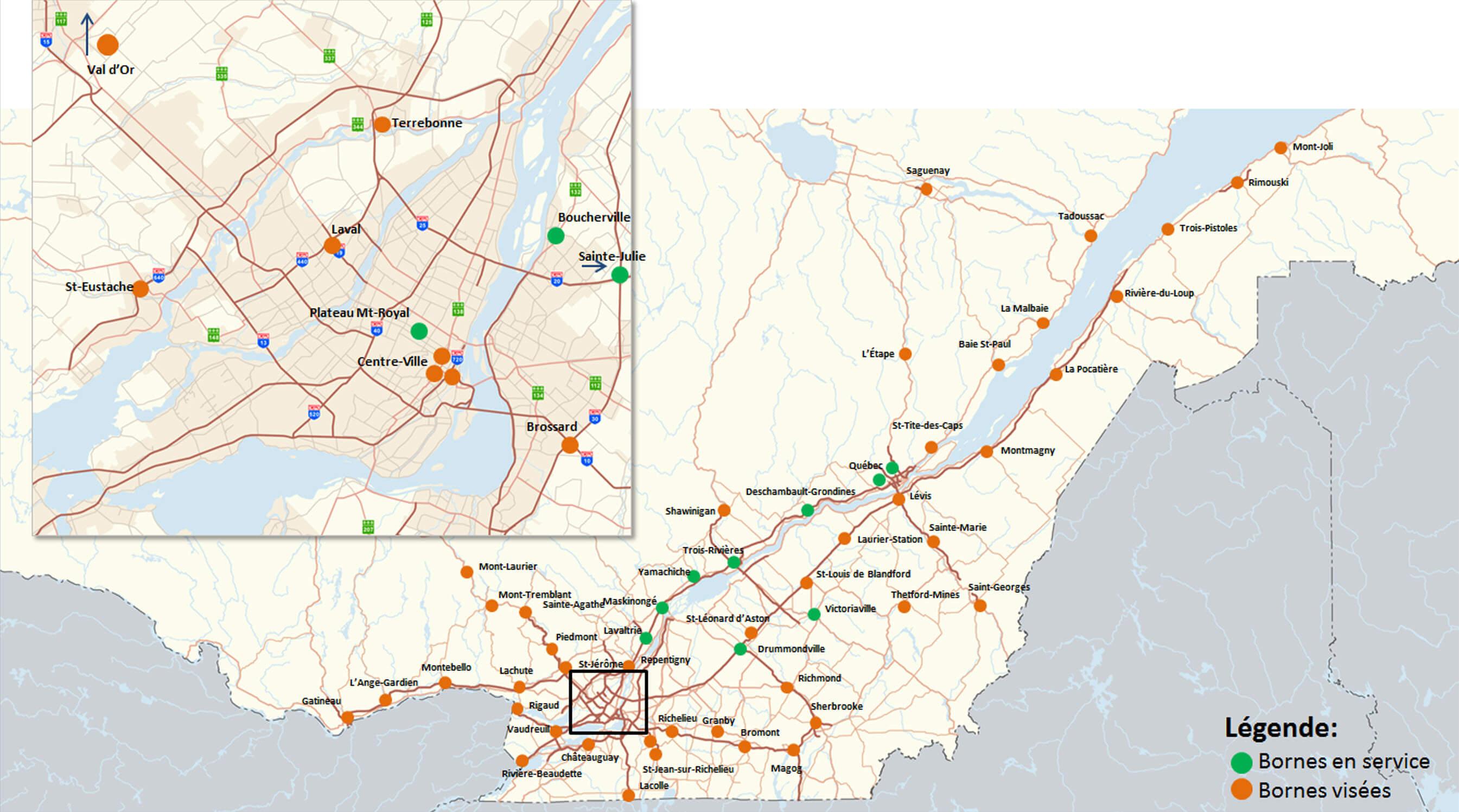 Carte borne de recharge rapide BRCC Québec