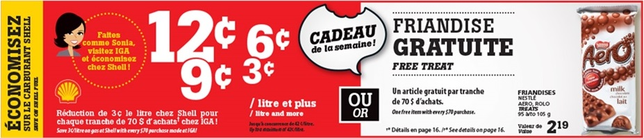Promotion rabais sur essence épicerie IGA