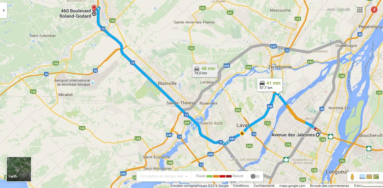 Itinéraire pour me rendre chez Écosolaris en passant par le pont à péage de l'autoroute 25 gratuitement grâce au transpondeur de ma voiture électrique