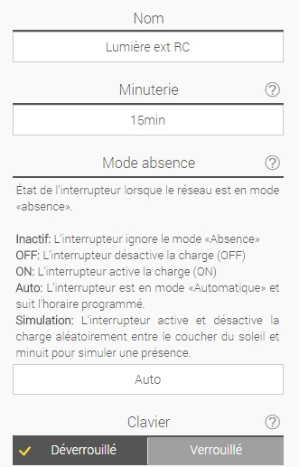 Comportement interrupteur WEB Sinope