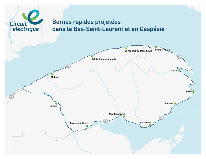Carte des bornes de recharge rapide pour voitures électriques en Gaspésie