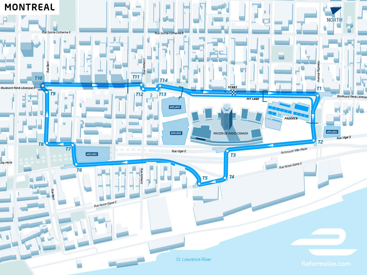 Trace course Formule E rue Montreal