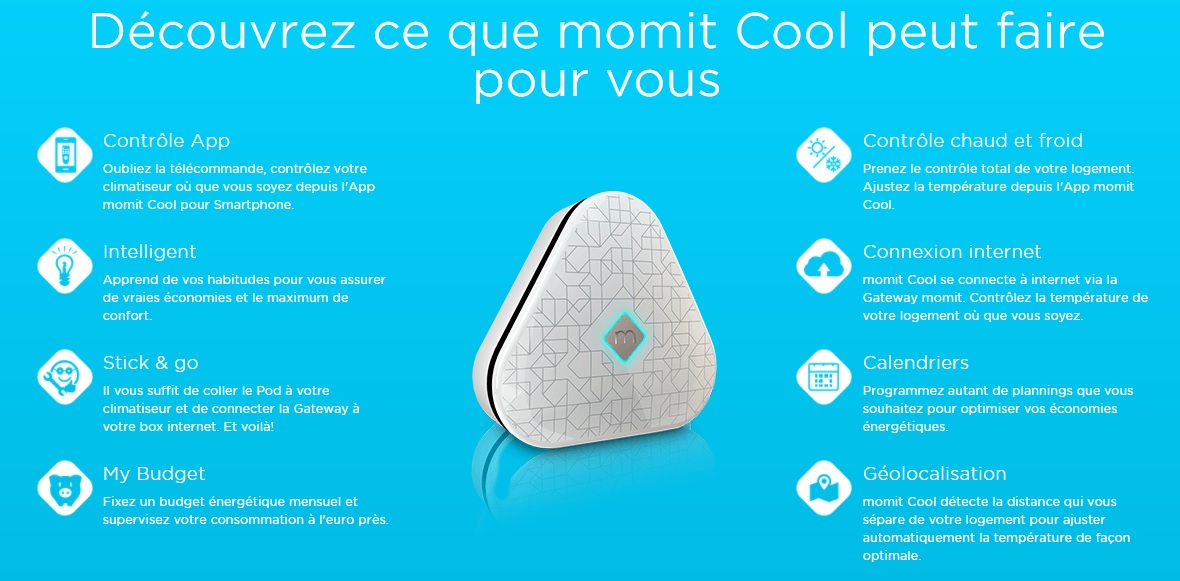 Fonctions controle internet thermopompe climatiseur Momit Cool
