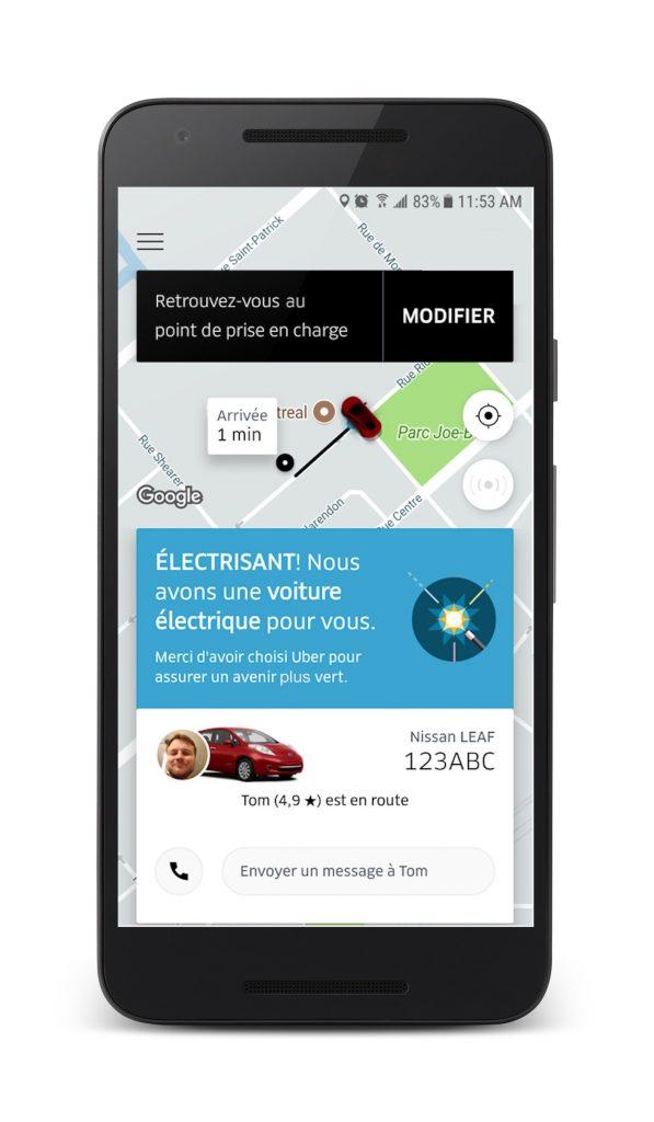 Application UBER voiture electrique