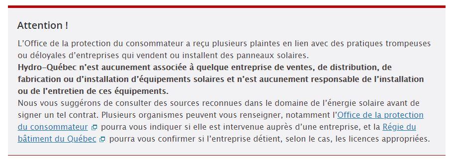 Mise en garde Hydro-Québec vendeurs panneaux solaires