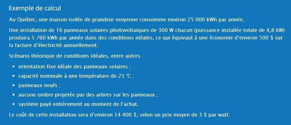Production et rentabilite panneaux solaires Quebec