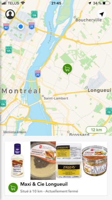 Application Flashfood recherche aliment date peremption