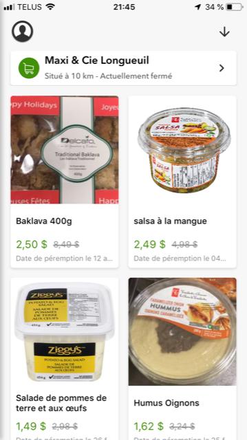 Aliments en solde date peremption Maxi et Cie Longueuil